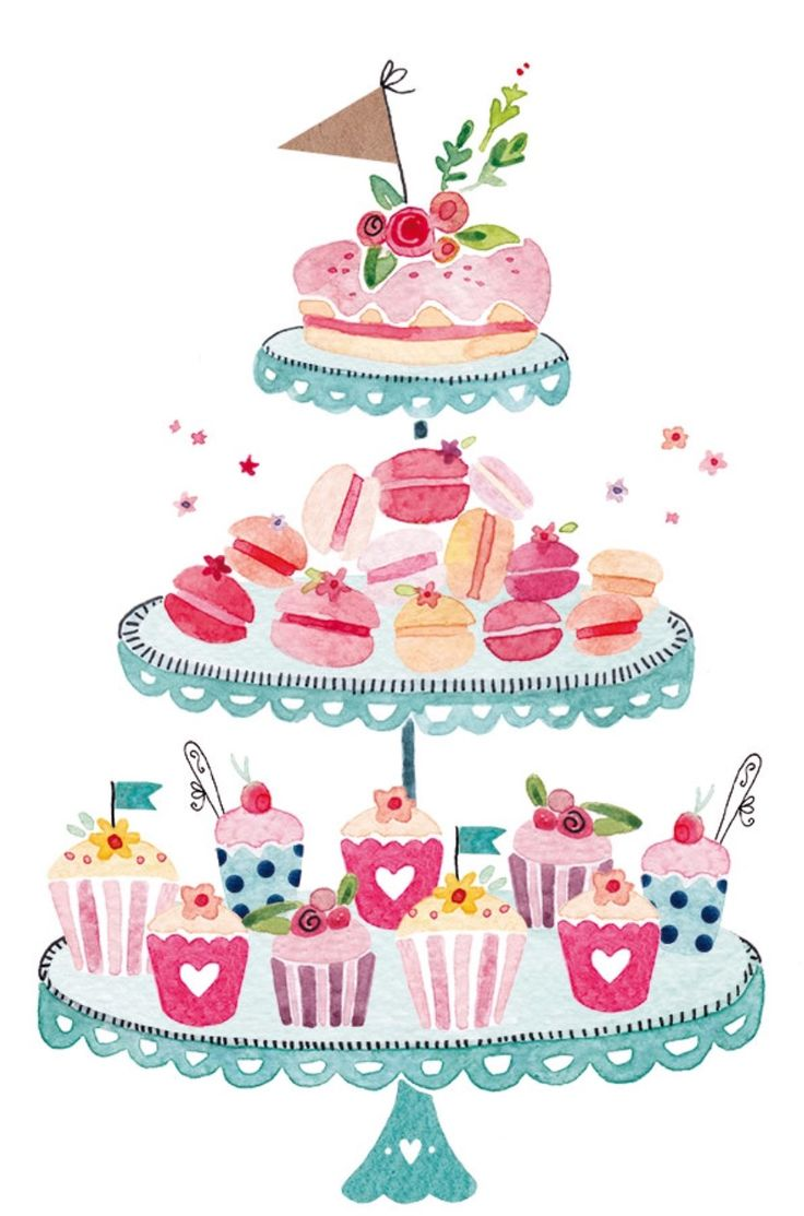 Watercolor dessert tiered cake stand - Felicity French