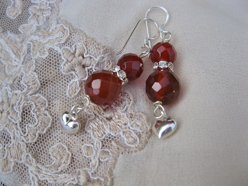 Carnelian heart earrings - thought to impart passion
