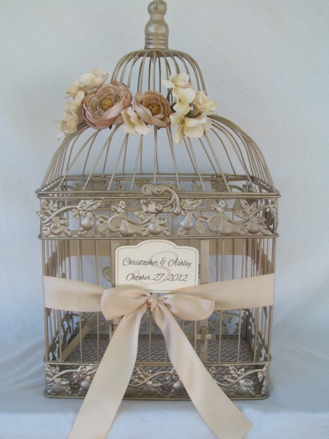 Champagne Bird Cage Wedding Card Holder, by SoClassicallyChic