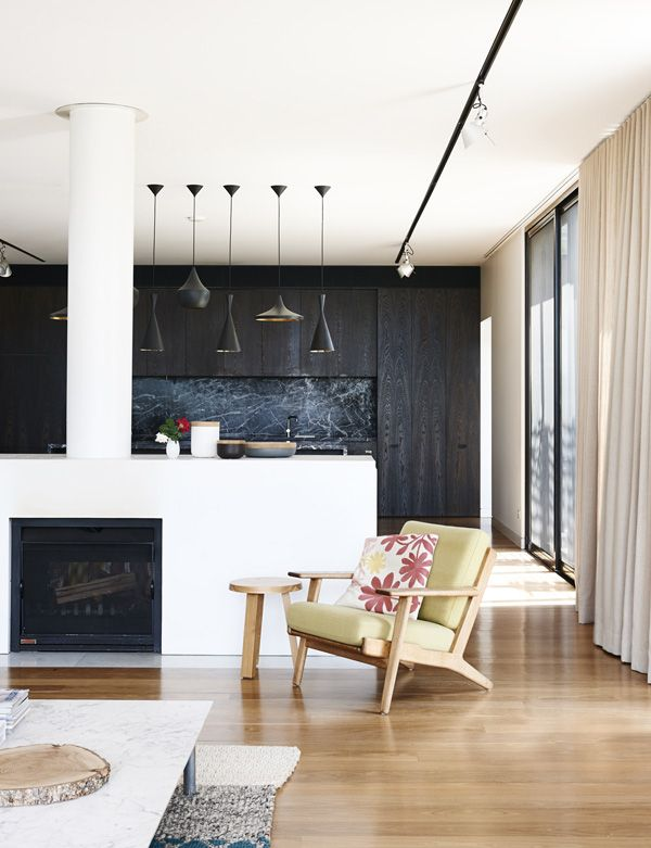 floorboards with black and white interior