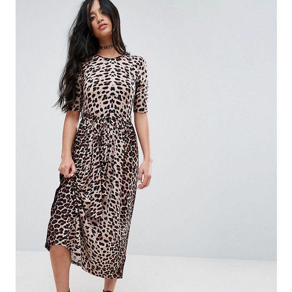 ASOS PETITE Midi Dress in Leopard with Self Tie Belt (230.050 IDR) ❤ liked on Polyvore featuring dresses, multi, petite, waist belt, print dress, short petite dresses, petite midi dress and day to night dresses