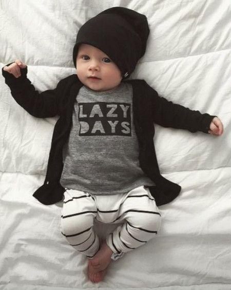 2016 nouvelle automne bébé garçon vêtements bébé vêtements mode coton à manches longues lettre T - shirt + pantalons nouveau - né bébé vêtements ensemble