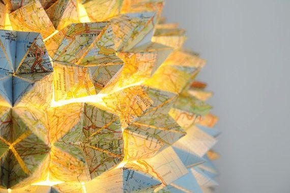 Roadmap Origami Pendant Lamp by SilkandSpoon on Etsy, €119.00