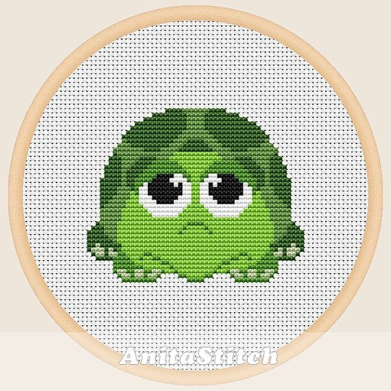 Cute turtle Cross stitch pattern от AnitaStitch на Etsy