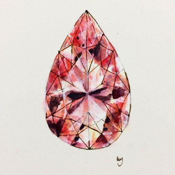 "Pink, Diamond, Original Art, Pear Shaped Diamond, Diamond Drawing, Ink, Watercolor, Acrylic, Paper, Small Wall Art, 6""x6"", 15cm x 15cm"
