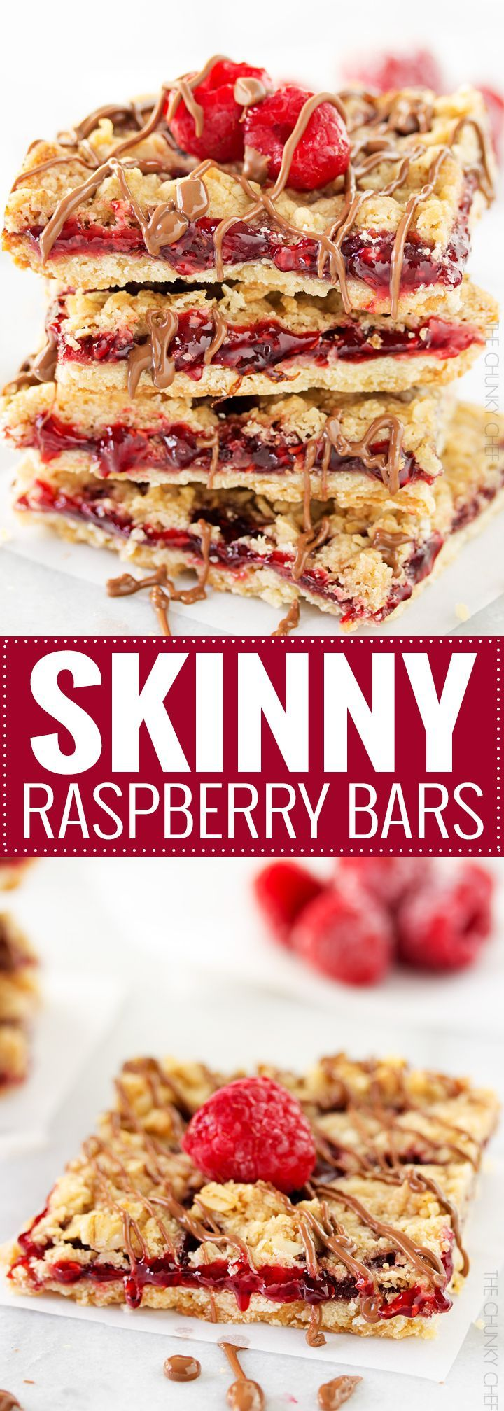 Skinny Raspberry Shortbread Bars | These buttery and sweet raspberry bars have under 200 calories per bar, making them the perfect lighter dessert! | http://thechunkychef.com