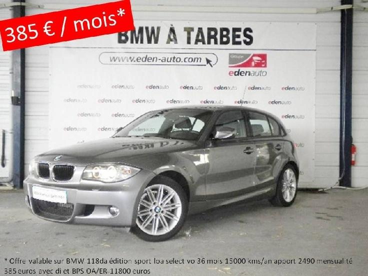 Opération leasing BMW Serie 1 118d Edition Sport 5p occasion en vente à Tarbes. Voir le détail de l'offre http://www.eden-auto.com/promotion/offre-exclusive-sur-vehicules-occasion-bmw-premium-selection/