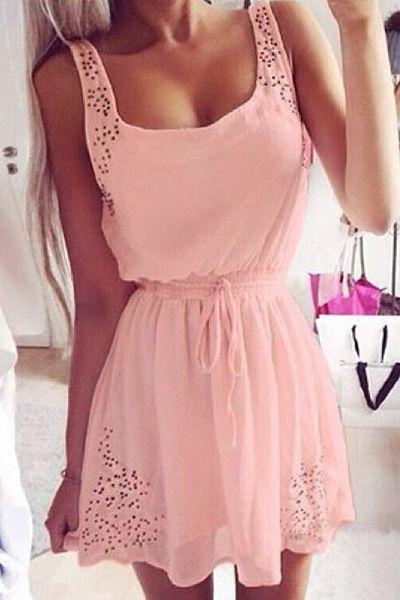 Hollow Out A-Line Sundress PINK: Dresses 2015 | ZAFUL
