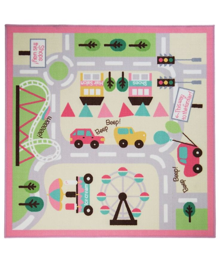 Buy Kiddy Town Map Girls Rug - 133x133cm - Multicoloured at Argos.co.uk - Your Online Shop for Rugs and mats.