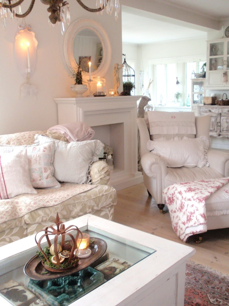 Living Room Whitewashed Chippy Shabby Chic French Country Rustic Swedish Decor Idea Cottages