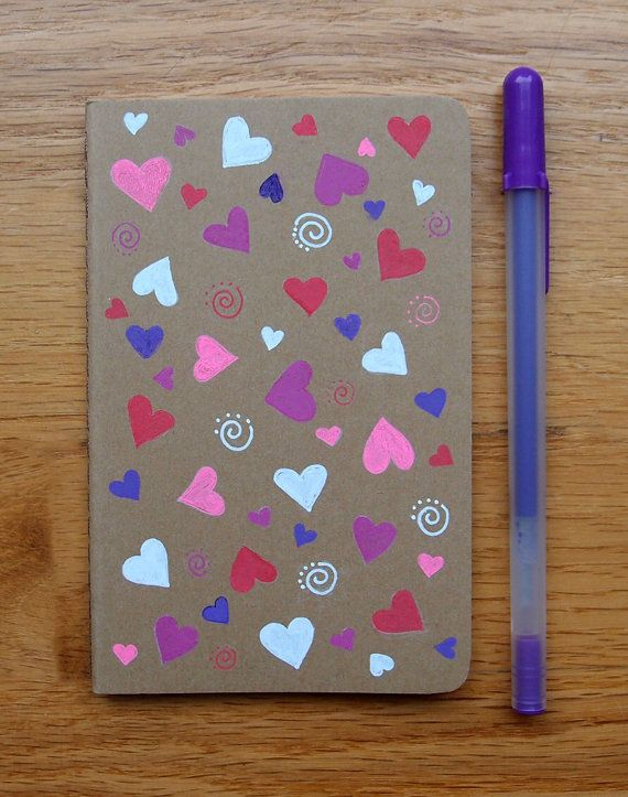 Special: Lots of Hearts Hand Painted Notebook by KelliMcNicholsArt