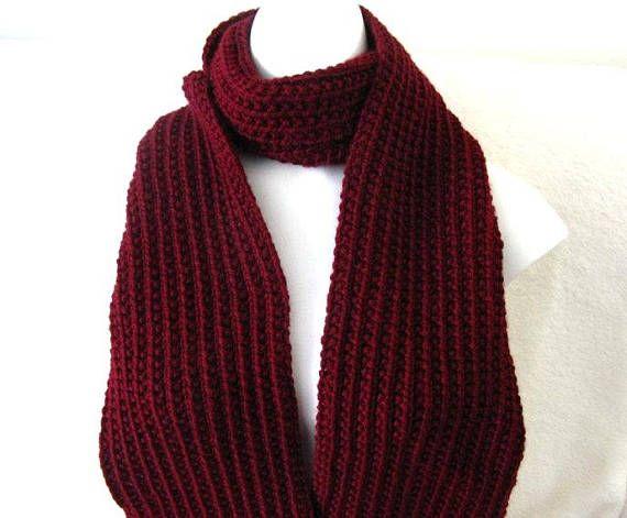Burgundy Knit Scarf Hand Knitted Unisex 72 inch Rib Knit