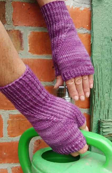 Hidden gusset fingerless mitts - an unusual placement of the thumb gusset makes them unique - (adult S M L)