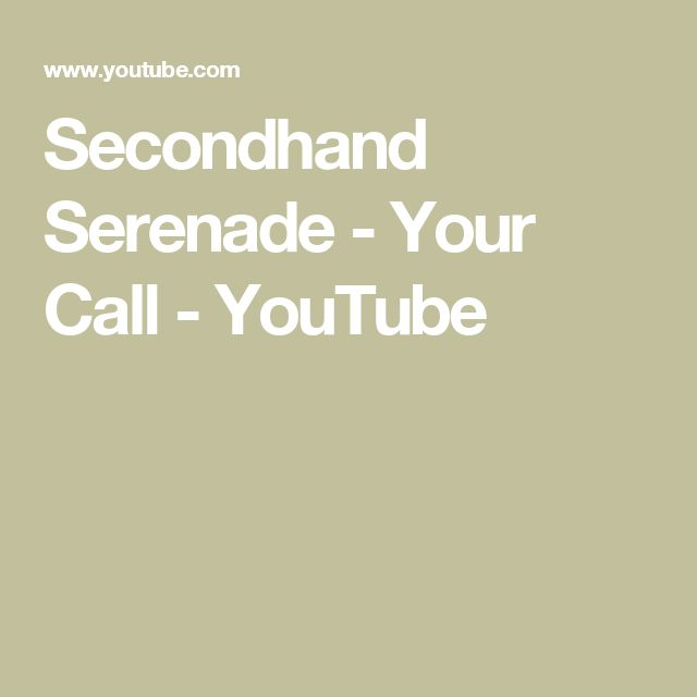 Secondhand Serenade - Your Call - YouTube