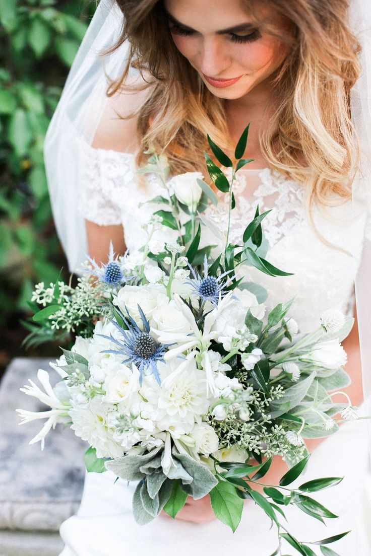Blue & White Bridal Bouquet Photography by Gaudium Photography