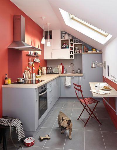 """Peinture teinte """"Rouge rouge n° 3"""", 12,95 euros le pot de 0,5 L, Luxens."""