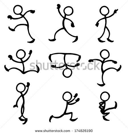 stick people in action, trying to get ideas for dancing stick figures