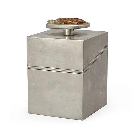 A Estrid Ericson pewter box by Svenskt tenn 1944. Height 12 cm.
