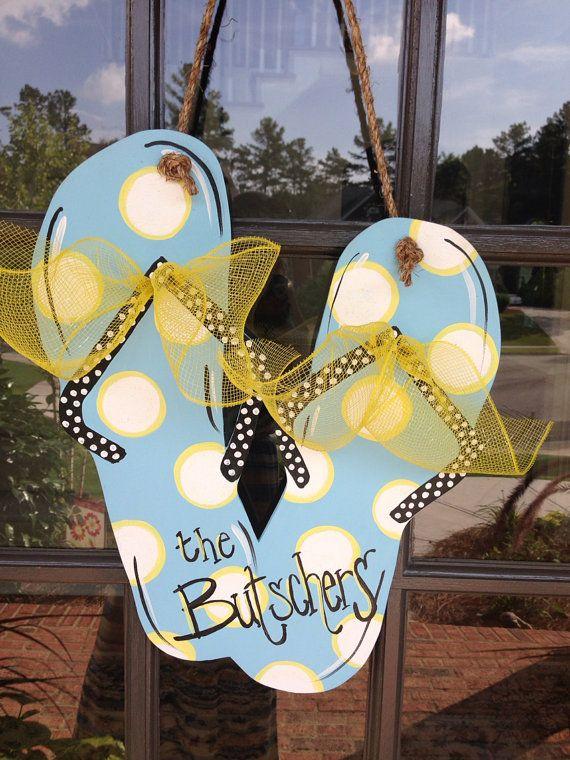 Front Door Summertime Flip Flop Decoration by KnockinOnWood
