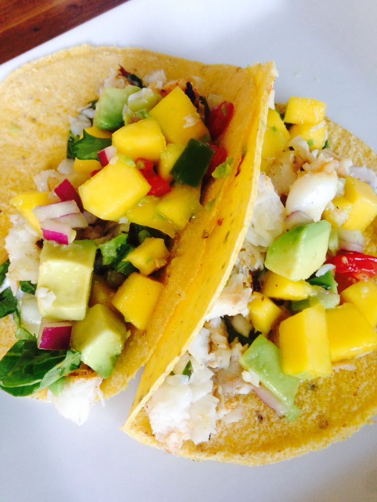 Fish Tacos and Mango Salsa - so yummy and perfect for Cinco De Mayo!  #21 Day Fix