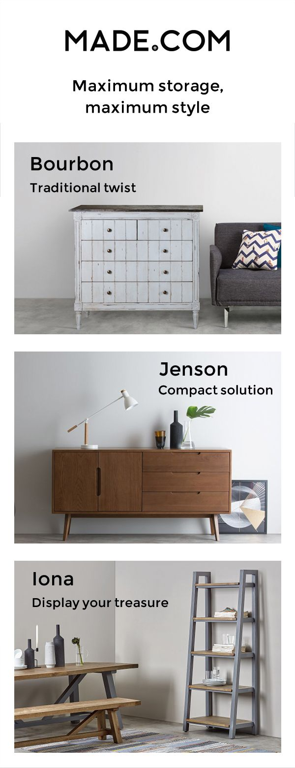 Don't sacrifice style when it comes to furniture storage. Our designers have nifty solutions for all your storage needs from wall shelves to sideboards to benches with storage space.
