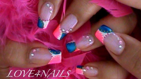 Pink & Blue Nail Art Design by LOVE4NAILS - Nail Art Gallery nailartgallery.nailsmag.com by Nails Magazine www.nailsmag.com #nailart