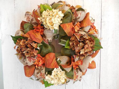 How to Make a Fall Burlap and Mesh Ribbon Wreath (Video). This season bring color to your front door and interiors with a touch of glimmer and texture. Thanks to Etsy Shop 'Chickadee Lore' for letting us feature!