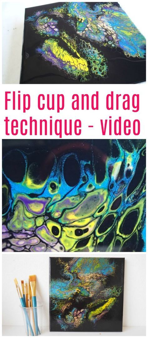 Flip cup and drag acrylic pouring technique. Tutorial video for this technique to create cells in your acrylic paint. Negative space black background