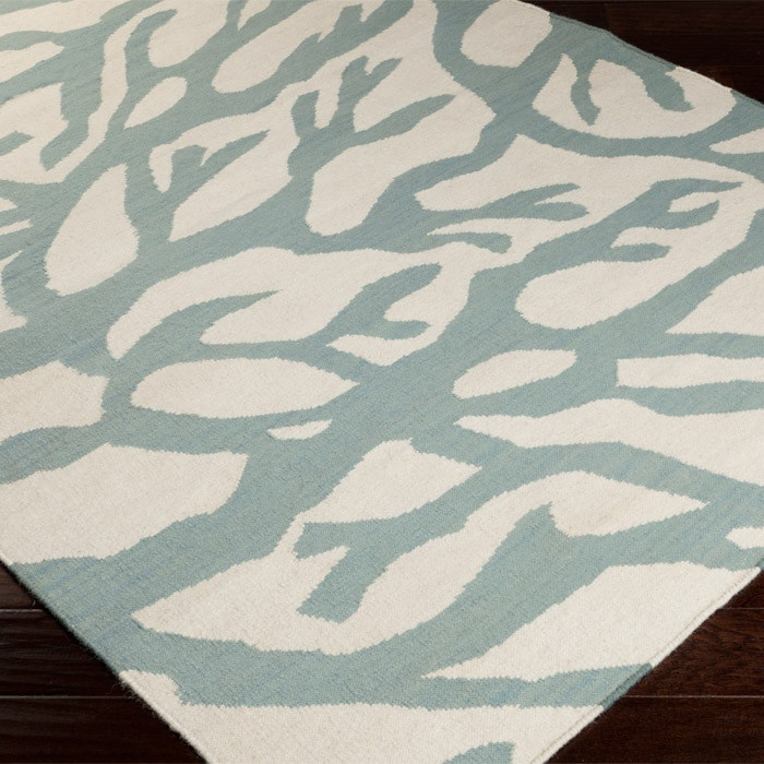 coral rug in powder blue great for coastal nautical decor