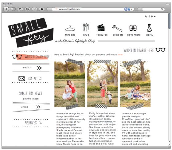 Small Fry blog design via Nicole's Classes - cute illustrations and the layout!
