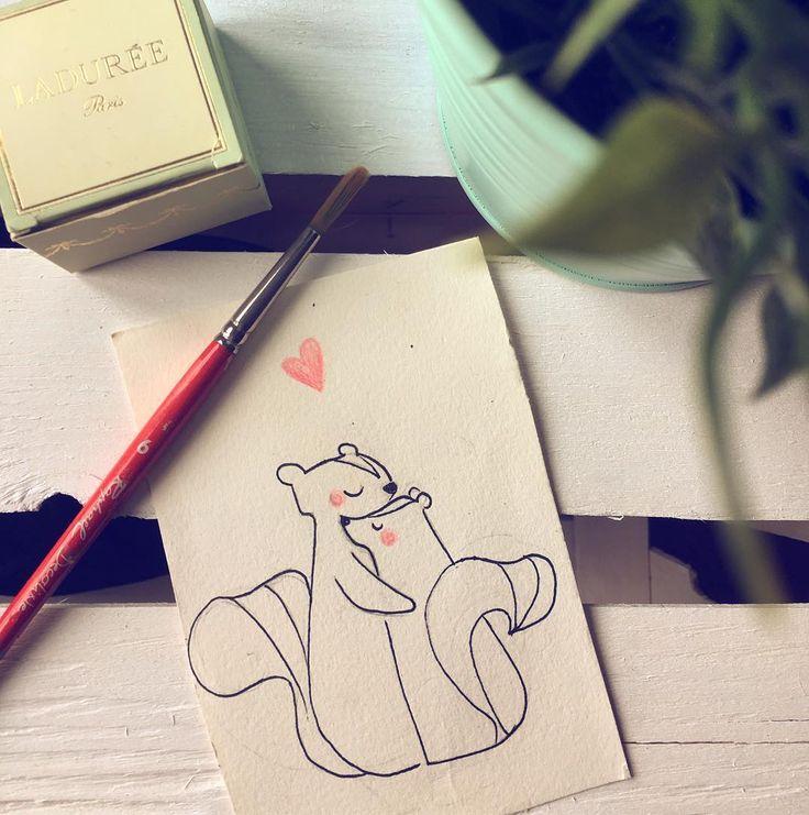 Skunks couple in love #boatta#love#illustration#sanvalentineday