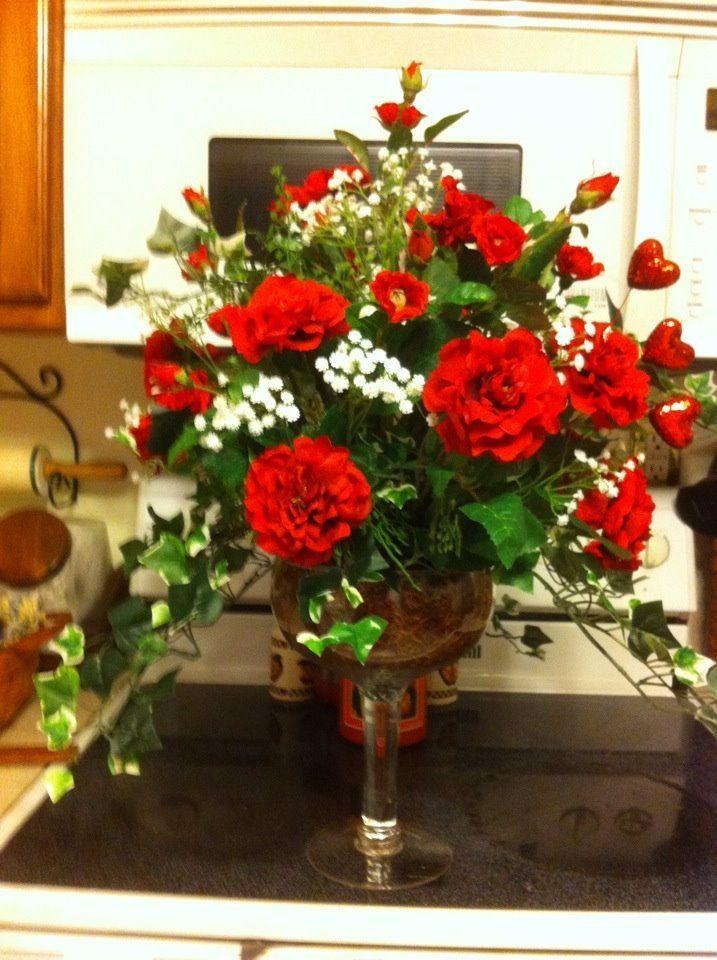 Champagne Glass Flower Arrangement Red Roses Flower