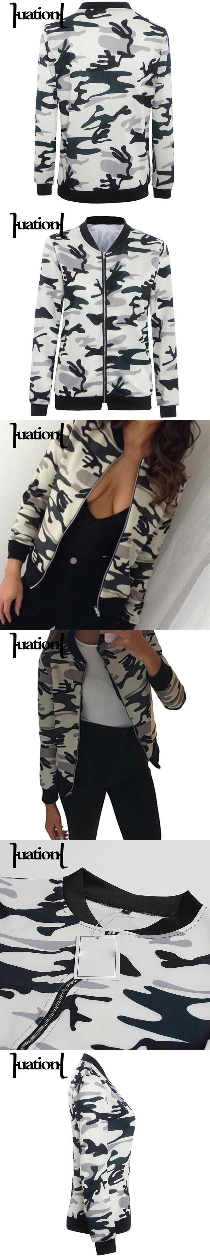 Huation Autumn Camouflage Print Women Jackets New Femme Stand Collar Baseball Jackets Long Sleeve Stand Bomber Jacket Coats