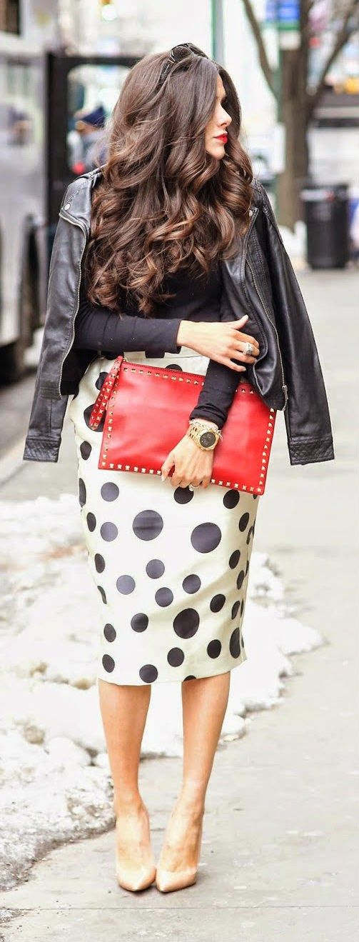 Plus Size Black Moto Jacket with Polka Dot Midi Pencil Skirt, Red Clutch and Christian Louboutin Pumps #UNIQUE_WOMENS_FASHION