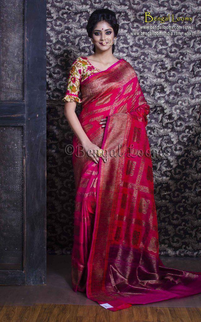 cd27f75489 Pure Handloom Tussar Silk Banarasi Saree in Rani | Banarasi Saree ...