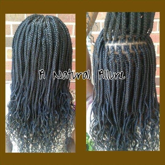 Box braids installed with 4 3/4 packs of Xpression hair. A brick-lay pattern was used to minimize spacing and the ends were braided and dipped in hot water.  www.anaturalallure.com/
