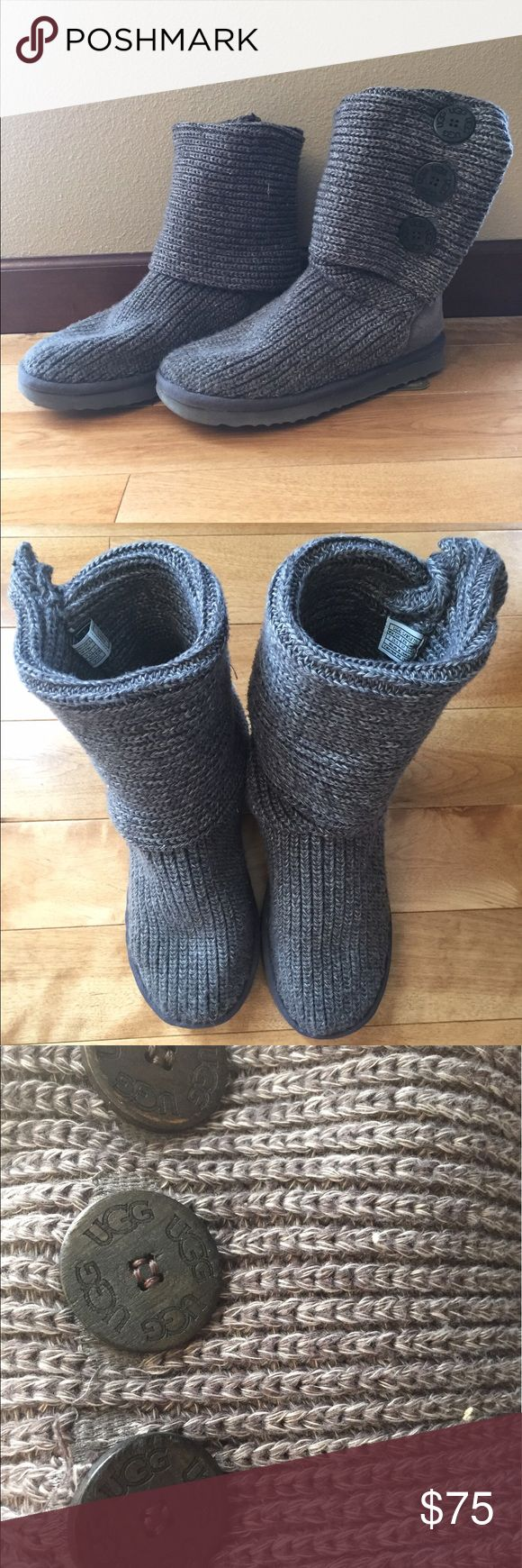 UGG classic cardy grey boots GUC due to some wear on the soles, otherwise they look like new! UGG Shoes Winter & Rain Boots