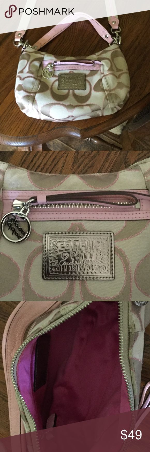 Coach Poppy handbag This is a beautiful Coach Poppy bag that is gold, cream and shimmery pale pink. All hardware is silver. Has full top zipper and smaller zipper in front. Interior is pink satin with zipper pouch and larger cell pocket. This bag is in perfect condition with no stains, rips or any damage whatsoever!  Also comes with long strap that is tan with thin pink ribbon.  Beautiful. Coach Poppy Bags Shoulder Bags