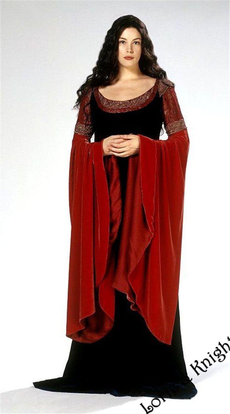 Custom Lord of the Rings Elven Princess Arwen Dress Costume Medieval Gown Halloween Fancy Dress for Adult/Kids BURGUNDY