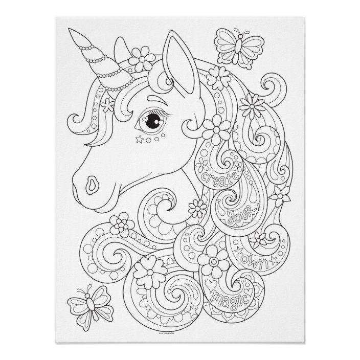Unicorn Coloring Poster Colorable Unicorn Poster Zazzle Com In 2021 Unicorn Coloring Pages Horse Coloring Pages Unicorn Poster