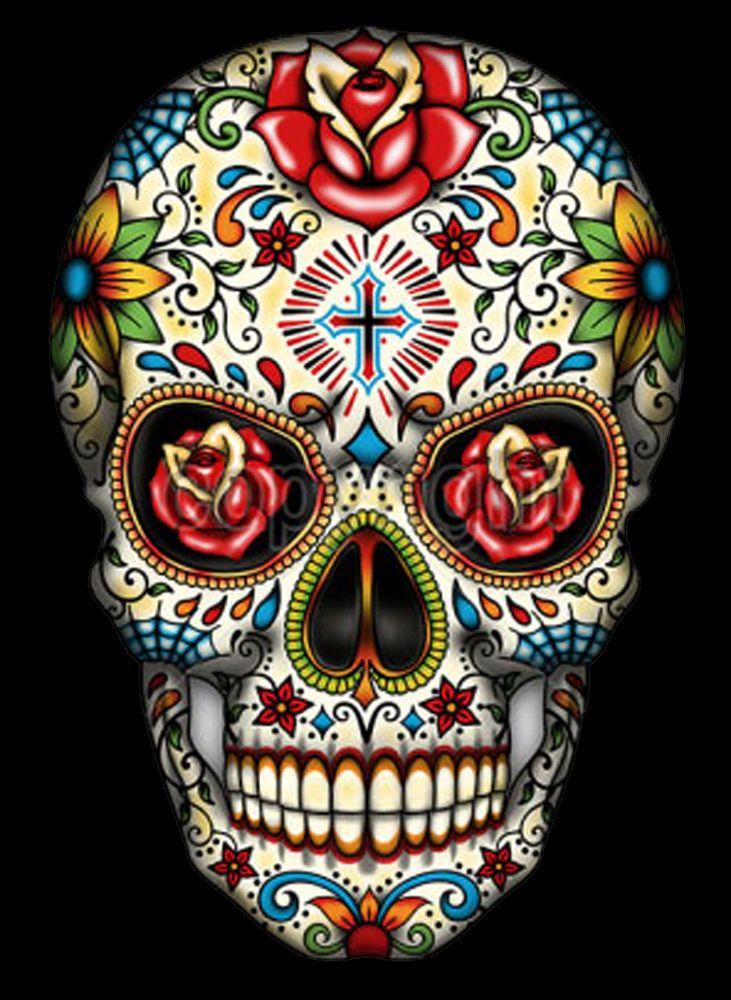 Sugar Skull With Cross Tattoo T-Shirt PLUS SIZE -or- SUPERSIZE T762F Rhinestone #Sanctuarieandothersdependsonsizeseedesc #TShirt #Casual