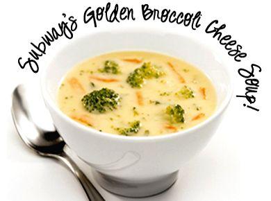 Subway Restaurant Golden Broccoli Cheese Soup recipe (thumbnail image)