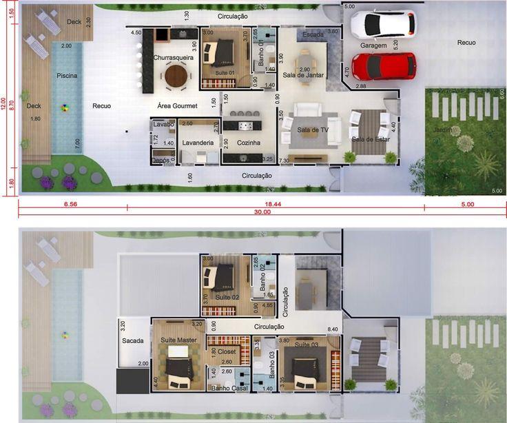 Sobrado con habitaci n de abajo plano para terreno 12x30 for Diseno de casa habitacion