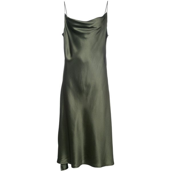 Protagonist cami dress (22,640 DOP) ❤ liked on Polyvore featuring dresses, green, cami dress, silk dress, silk cami dress, silk cami and green silk dress