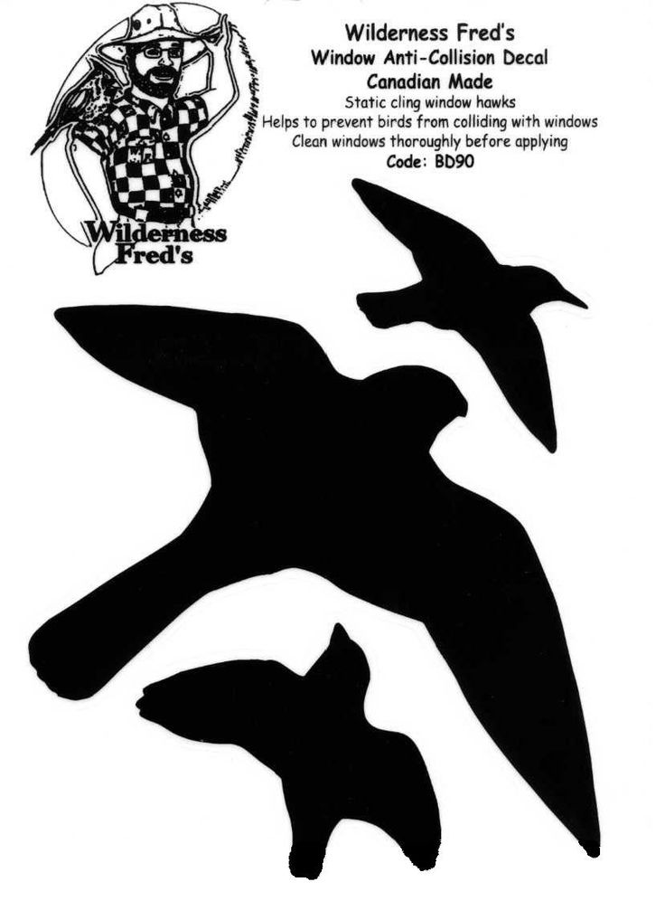Window hawks 3 per sheet bird alert decals 3 black birds on each page clings to glass helps protect birds from injury caused by flying into windows