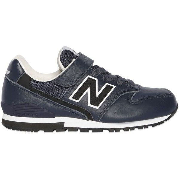 New Balance Kids-boys 996 Leather & Nylon Canvas Sneakers (520 NOK) ❤ liked on Polyvore featuring navy