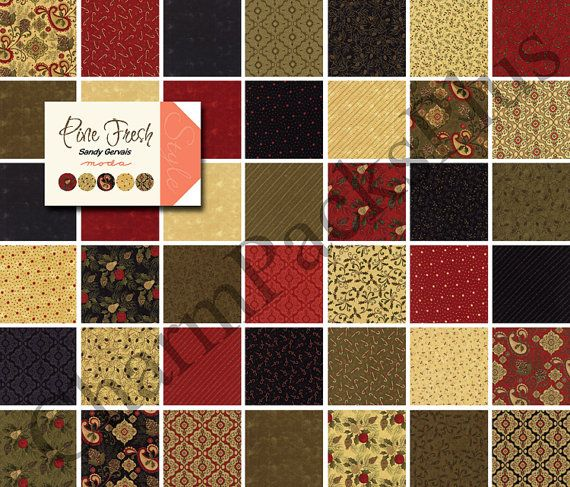 PINE FRESH - Moda Fabric Charm Pack - Five Inch Quilt Squares Quilting Material Blocks