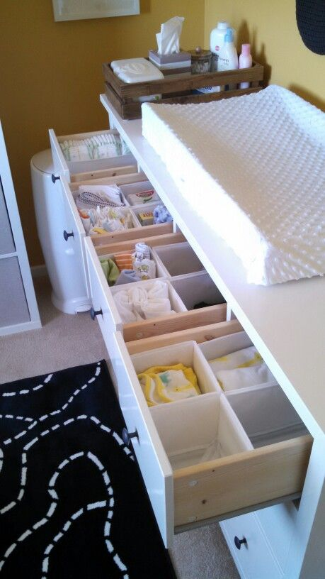 IKEA Hemnes As Changing Table   Diapers, Pad Covers And Spare Wipes, Socks  And