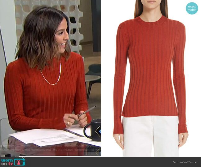 bd3f7d81f Erin s red ribbed sweater on Live from E!. Outfit Details  https