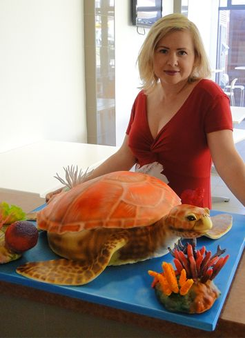 Sea turtle cake tutorial More
